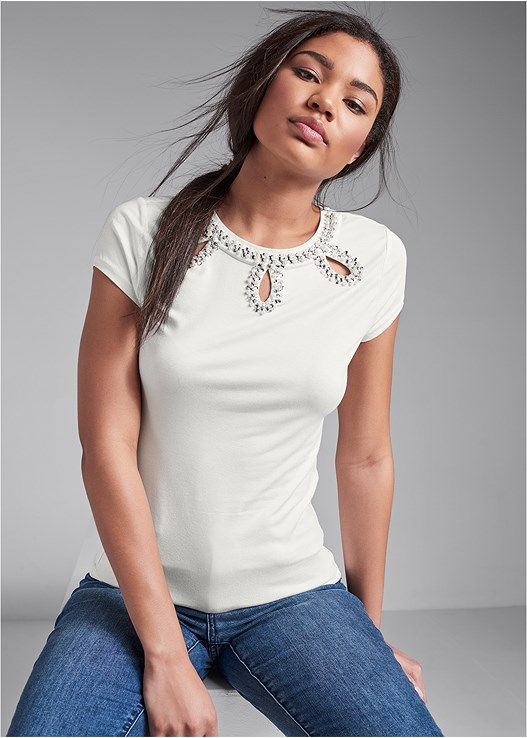 EMBELLISHED CUT OUT TOP,DISTRESSED HEM JEANS,PUSH UP BRA BUY 2 FOR $40