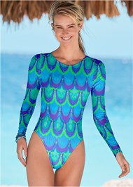 Front View Lace Up Swim One-Piece