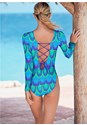 Back View Lace Up Swim One-Piece