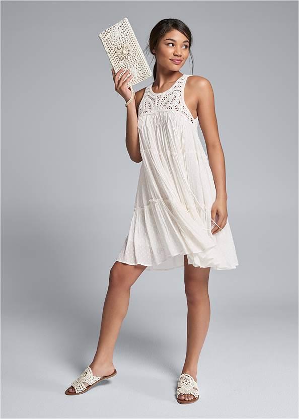 Full front view Crochet Detailed Mini Dress