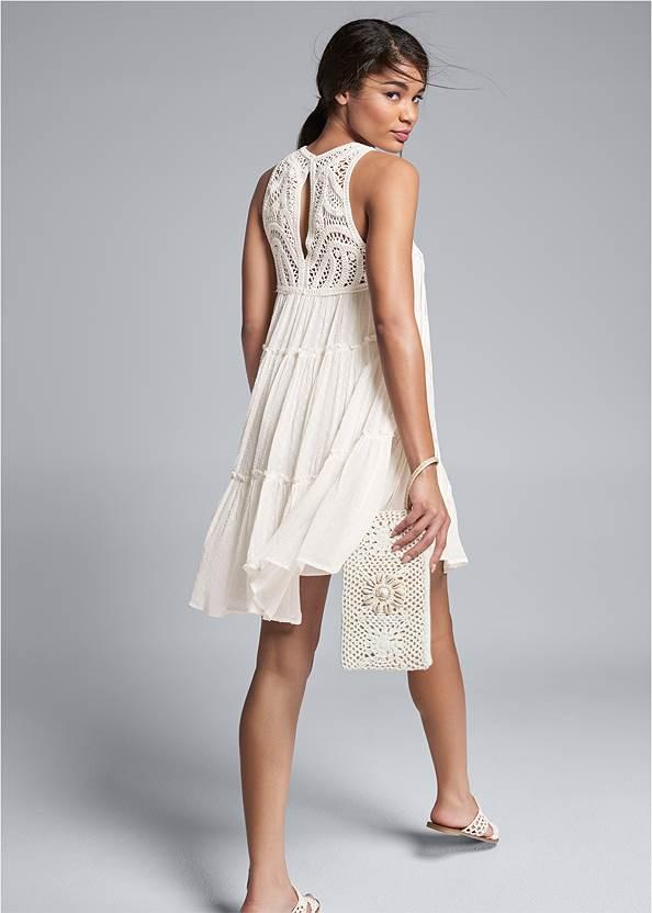 Full back view Crochet Detailed Mini Dress