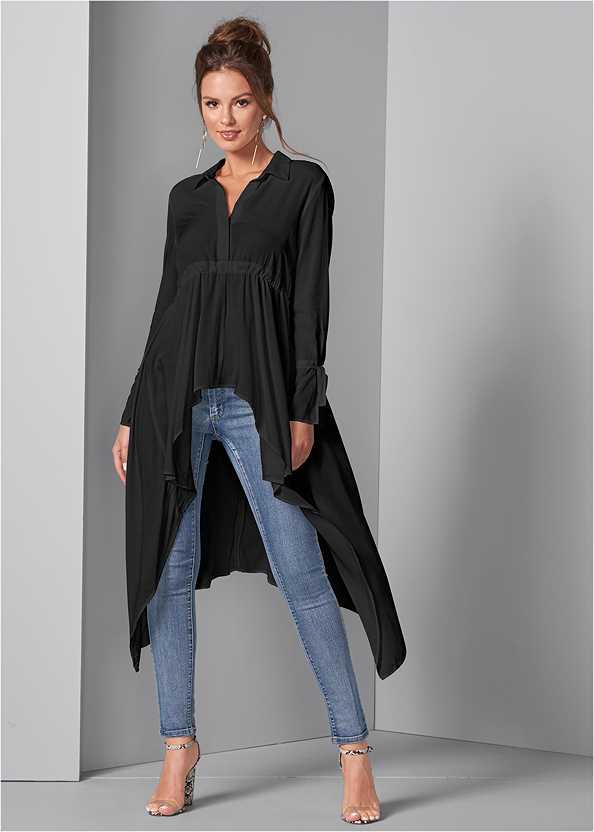 High Low Blouse,Side Zipper Jeans,Transparent Studded Heels,Lucite Detail Print Heels