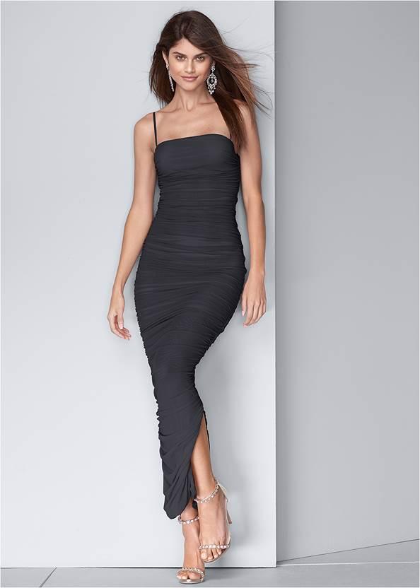 Ruched Bodycon  Side Slit Maxi Dress,Acid Wash Denim Jacket,Net Bag