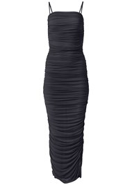 Detail front view Ruched Bodycon  Side Slit Maxi Dress