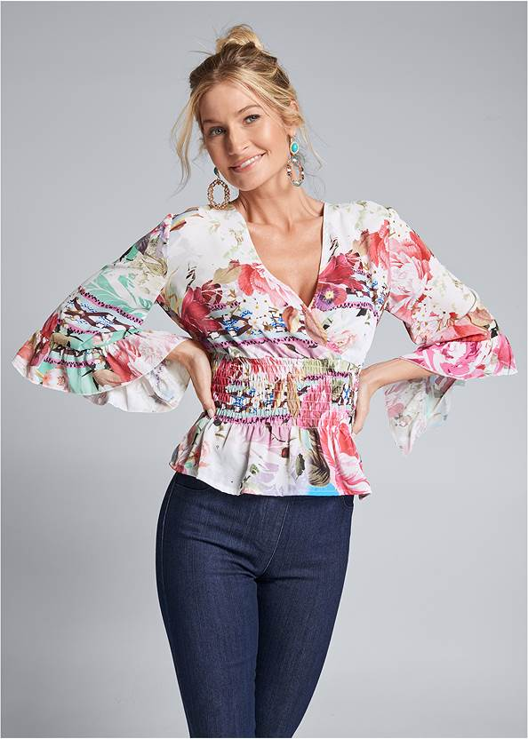 Floral Surplice Top,Mid Rise Slimming Stretch Jeggings,Beaded Statement Earrings