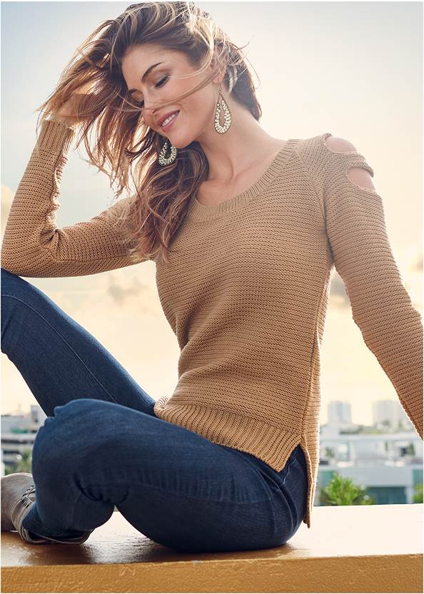 Cut Out Sleeve Sweater,Mid Rise Slimming Stretch Jeggings,Beaded Drop Earrings