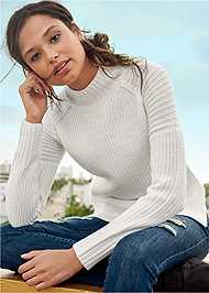 Front view Mock Neck Ribbed Sweater
