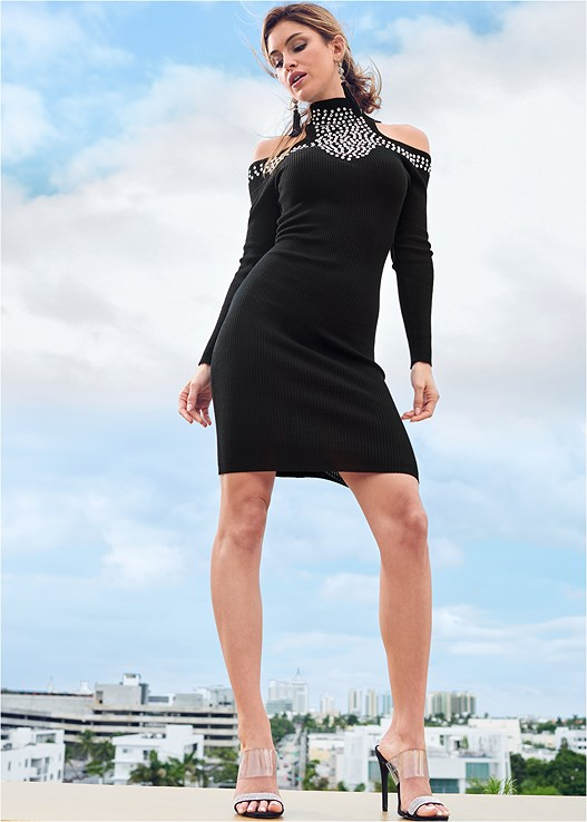 EMBELLISHED SWEATER DRESS,SEAMLESS FULL BODY SHAPER