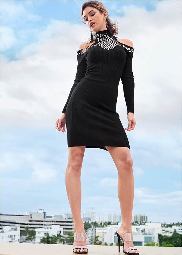 Embellished Sweater Dress,Stud Detail Crossbody