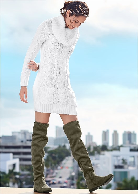 COZY SWEATER DRESS,UNLINED GEO LACE BRA,OVER THE KNEE STRETCH BOOT