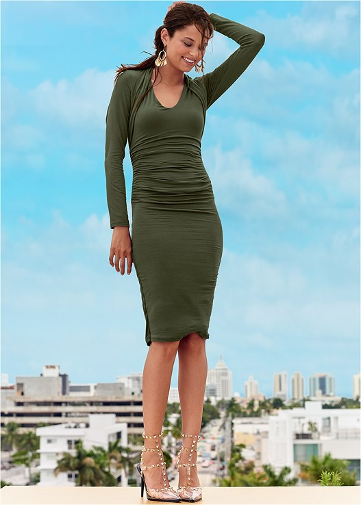 DRESS WITH FAUX SHRUG,CONFIDENCE SEAMLESS DRESS,STUD DETAIL LUCITE HEELS
