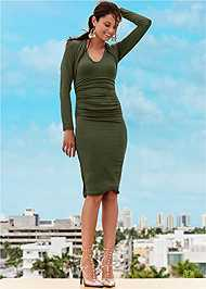 Front View Dress With Faux Shrug