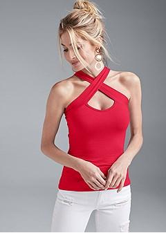 crisscross sleeveless top