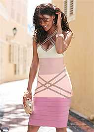 Cropped front view Bandage Color Block Dress