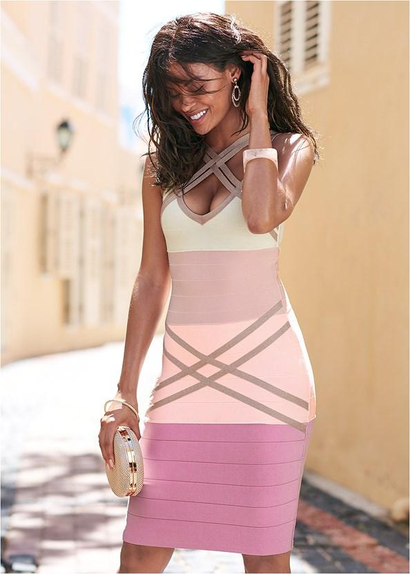 Bandage Color Block Dress,Embellished Heels,Lucite Detail Heels,Beaded Hoop Earrings,Ring Handle Circle Clutch