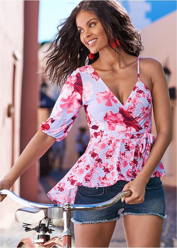 One Shoulder Floral Top,Cut Off Jean Shorts,Embellished Low Wedges,Tassel Earrings,Beaded Hoop Earrings