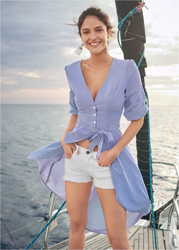 High Low Pinstripe Blouse,Frayed Cut Off Jean Shorts,Mid Rise Slimming Stretch Jeggings,High Heel Strappy Sandals