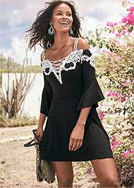 Cropped front view Cold Shoulder Lace Dress