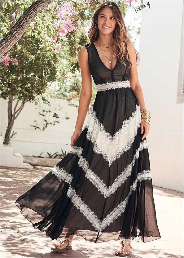 Lace Inset V-Neck Dress