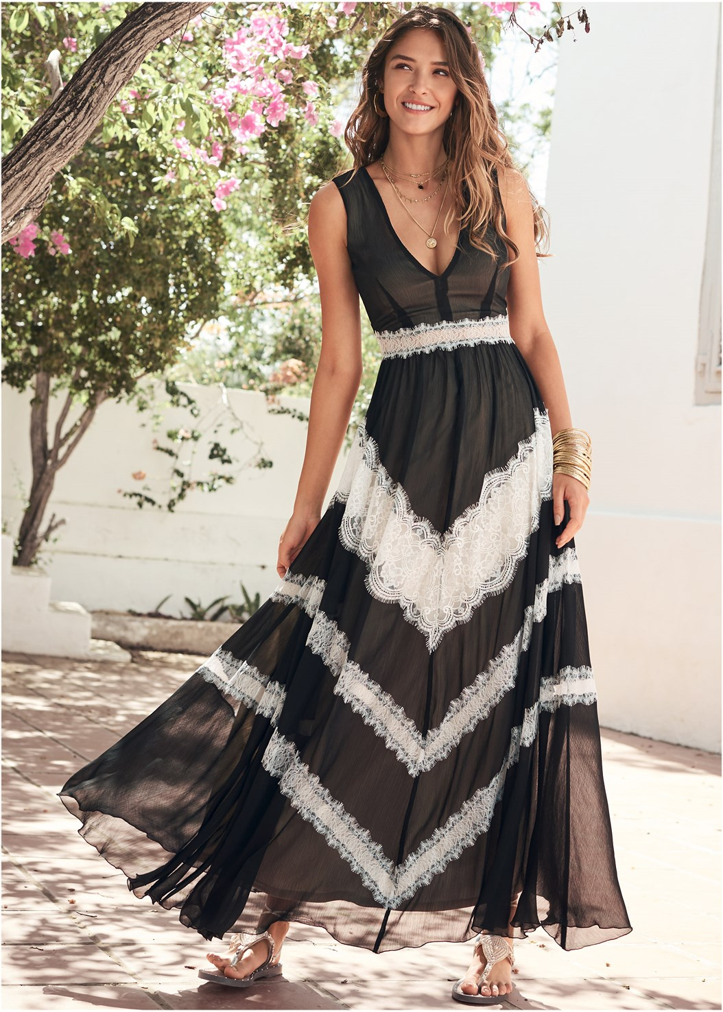 Lace Inset V-Neck Dress,Lace Up Gladiator Sandals,Hammered Metal Earrings,Layered Long Necklace
