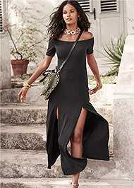 Front View Slit Detail Maxi Dress