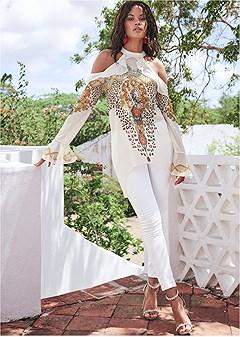 embellished print blouse