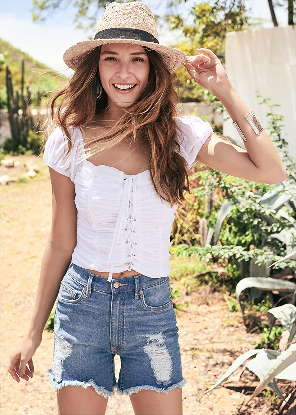 Square Neck Lace Up Top,Distressed Jean Shorts,Lucite Detail Print Heels,Wrap Around Wedges,Beaded Hoop Earrings,Tassel Detail Hoop Earrings,Studded Satchel Crossbody,Raffia Detail Bag