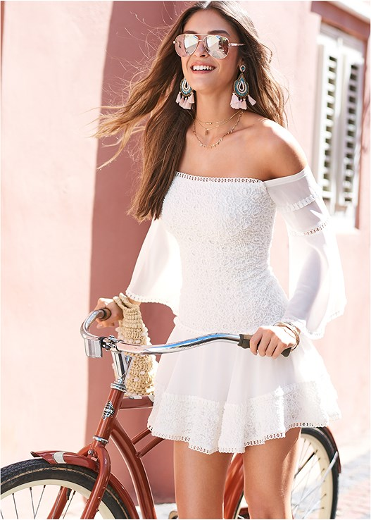 TIERED RUFFLE CHIFFON DRESS,EVERYDAY YOU STRAPLESS BRA,LACE UP GLADIATOR SANDALS,MULTI COLOR STONE SANDALS,TASSEL DETAIL HOOP EARRINGS,LAYERED LONG NECKLACE,BEADED CROSSBODY,HAMMERED METAL BANGLE SET,STEVE MADDEN SUNGLASSES