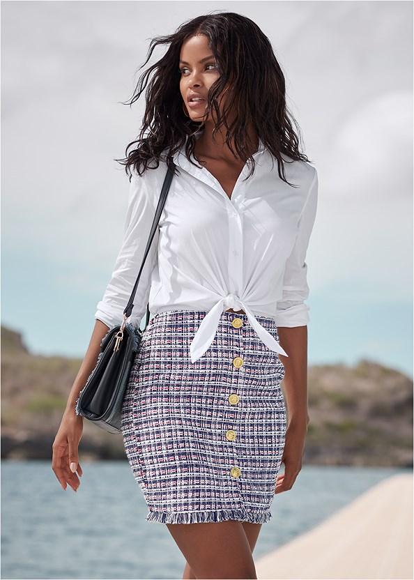 Tweed Mini Dress,Lucite Detail Heels,Denim Handbag,Circle Detail Handbag