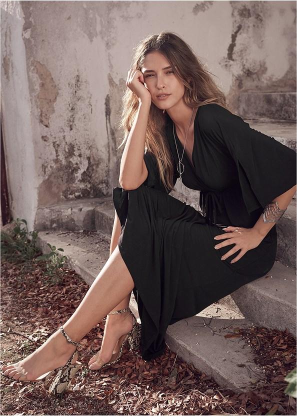 Kimono Sleeve Maxi Dress,High Heel Strappy Sandals,Lucite Detail Print Heels,Beaded Hoop Earrings