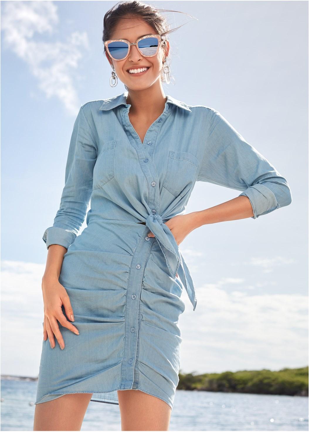 Ruched Detail Button Down Tie Waist Shirt Dress