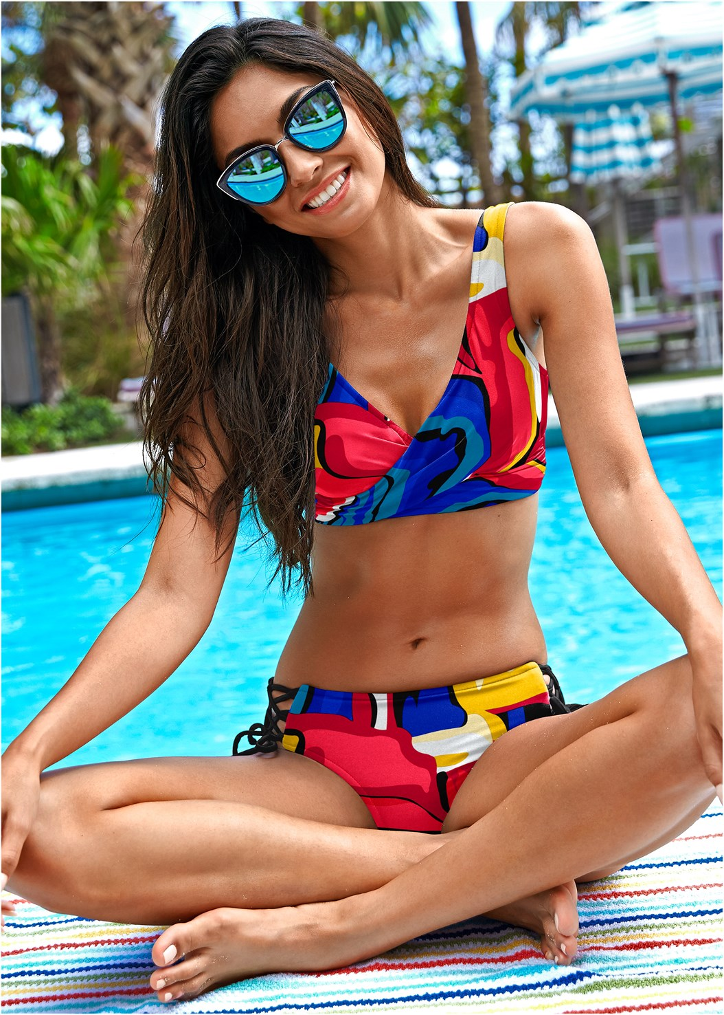 Lovely Lift Wrap Bikini Top,Lattice Side Bikini Bottom,Scoop Front Classic Bikini Bottom ,Ruched Waist Bikini Bottom,Low Rise Classic Bikini Bottom