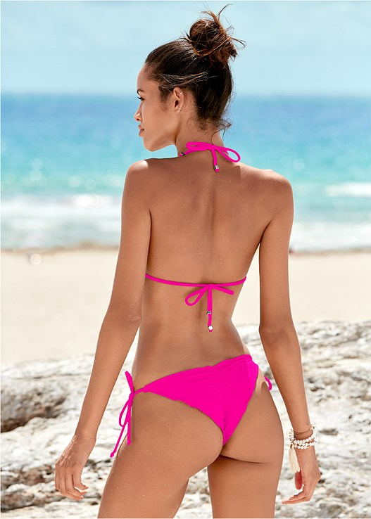 CHEEKY TIE SIDE BOTTOM,TRIANGLE BIKINI TOP,STRAPPY BANDEAU TOP,ENHANCER PUSH UP TRIANGLE,STRAPPY BACK JUMPSUIT,CHANDELIER EARRINGS