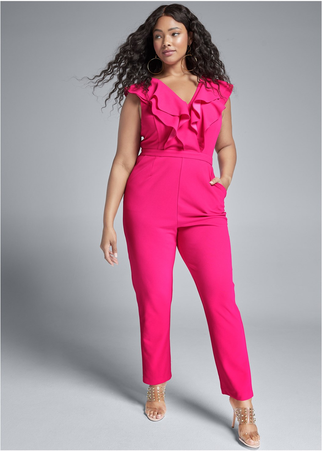Ruffle Jumpsuit,Embellished Lucite Heel
