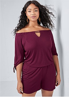 plus size off the shoulder romper