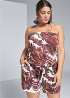 plus size strapless paisley romper