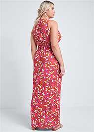 Back View Geometric Print Maxi Dress