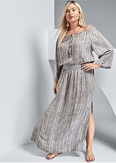 plus size python printed maxi dress