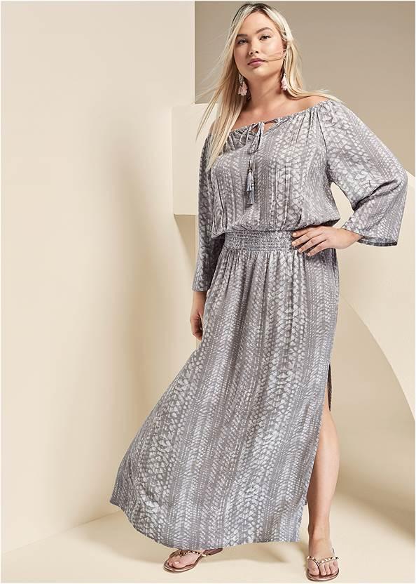 Strapless Maxi Dress,Studded Flip Flops
