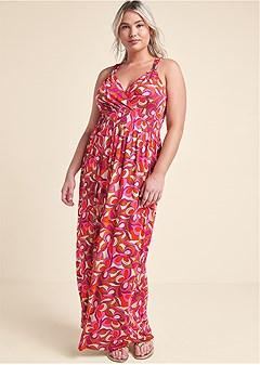 plus size geometric print maxi dress