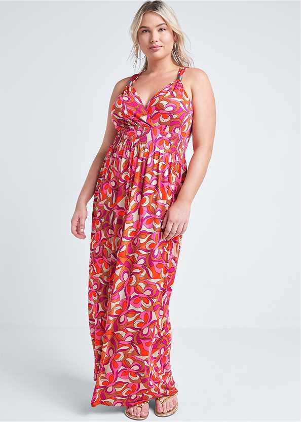Geometric Print Maxi Dress,Studded Flip Flops,Woven Handbag