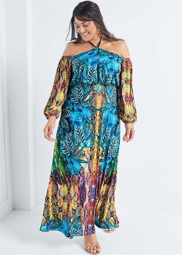 Printed Maxi Dress,Studded Flip Flops,Hoop Earrings