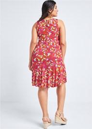 Back View Printed Flounce Dress