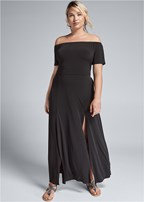 plus size slit detail maxi dress