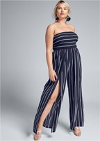 plus size smocked strapless jumpsuit