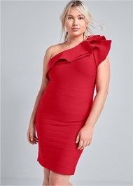 Cropped Front View One Shoulder Ruffle Bandage Dress