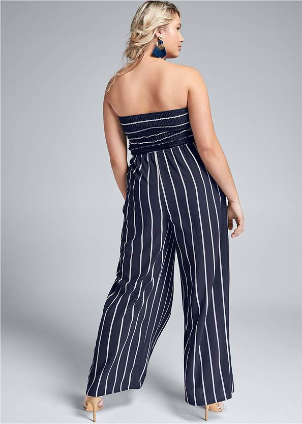 Back View Smocked Strapless Jumpsuit
