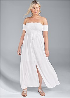 plus size smocked detail maxi dress