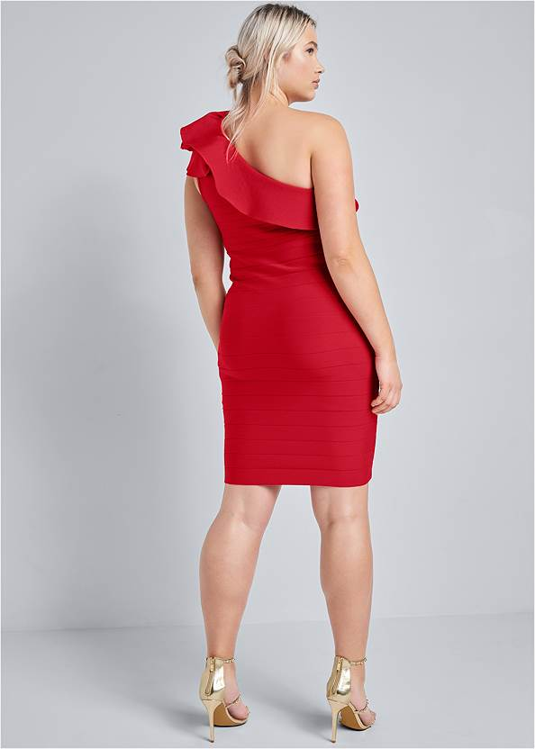 Back View One-Shoulder Ruffle Bandage Dress