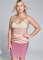 plus size bandage color block dress